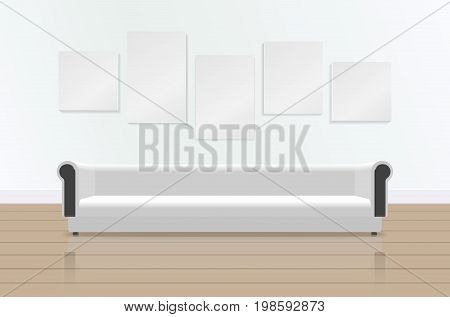 Realistic white long soft sofa with reflection on the floor. Luxury couch and pictures on the wall. Modern living room, office or lounge. Vector illustration