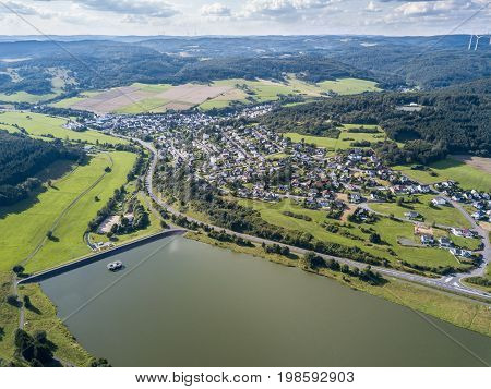Aerial view of the Aar Dam and its reservoir the Aartalsee. Bischoffen Province of Hesse Germany