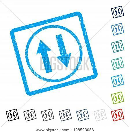 Vertical Flip Arrows rubber watermark in some color versions.. Vector icon symbol inside rounded rectangle with grunge design and unclean texture. Stamp seal illustration, unclean emblem.