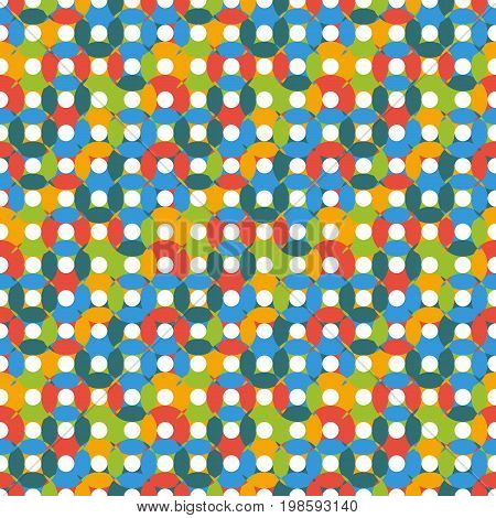 Unusual Seamless Pattern Made Of Round Shapes In Bright Kid Colors