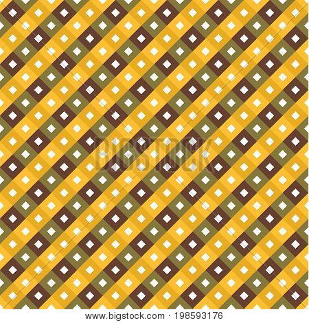 Seamless Swatch - Square Or Rhombus Ornaments In Diagonal Way In Shades Of Yellow And Brown