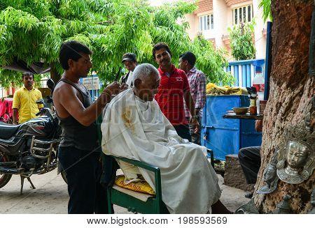 Street Barber In Bodhgaya, India