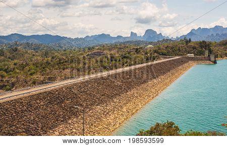 Hydroelectric power station on Cheow Lan Dam Ratchaprapha Dam in Thailand.