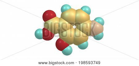 4-Aminosalicylic acid or para-aminosalicylic acid is an antibiotic primarily used to treat tuberculosis. 3d illustration