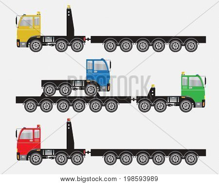 Set Of Many Wheel Trailer And Truck For Heavy Weight Transportation