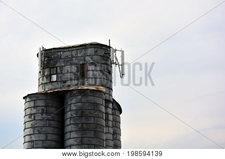 Cell Tower on an old Agricultural Grain Elevator Silo