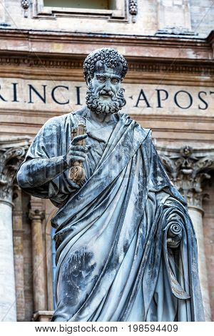 ROME, ITALY - JANUARY 18, 2017 Saint Peter Keys Statue's Basilica Vatican Rome Italy. Statue commissioned in 1847 by Giuseppe De Fabris.