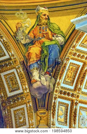ROME, ITALY - JANUARY 18, 2017 Catholic Saint Incense Saint Peter's Basilica Vatican Rome Italy. Incesnse is used in a holy ritual of cleansing and purification