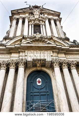Door SS Vincenzo E Anastasio Church Basilica Dome Trevi Rome Italy. Vincenzo Anastasio Church is Baroque Church built in the 1600s next to Trevi fountain. Door Symbol is of Cardinal that created church.