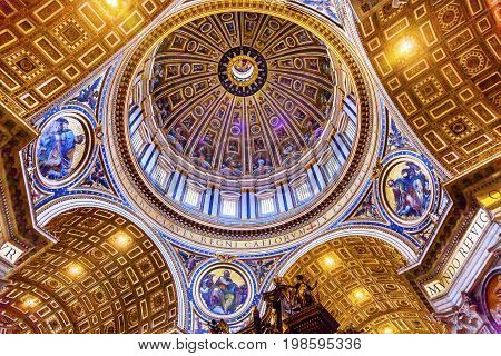ROME, ITALY - JANUARY 18, 2017 Michelangelo Dome Saint Peter's Basilica Vatican Rome Italy. Dome built in 1600s over altar and St. Peter's tomb