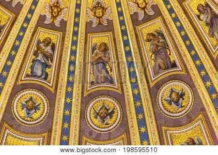 ROME, ITALY - JANUARY 18, 2017 Angels Mosaics Michelangelo Dome Saint Peter's Basilica Vatican Rome Italy. Dome built in 1600s over altar and St. Peter's tomb