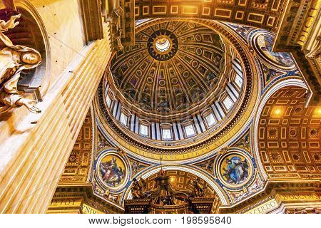 Mary Statue Michelangelo Dome Saint Peter's Basilica Vatican Rome Italy. Dome built in 1600s over altar and St. Peter's tomb