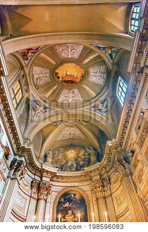 ROME, iTALY - JANUARY 8, 2017 Lamb Ceiling SS Vincenzo E Anastasio Church Basilica Dome Trevi Rome Italy. Vincenzo Anastasio Church is Baroque Church built in the 1600s next to Trevi fountain.