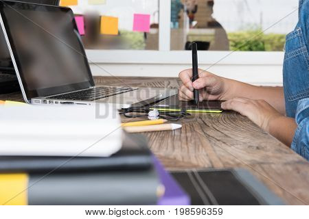 Designer Drawing On Graphic Tablet At Office. Artist Working With Computer At Workplace. Design, Cre
