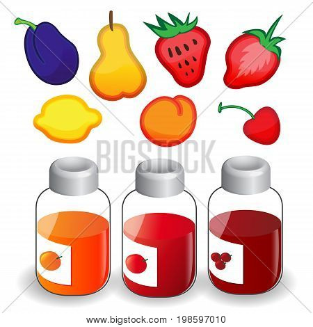 Fruit Icons And Jam Jars