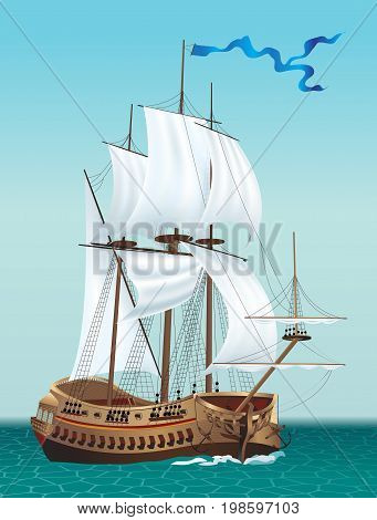 Sailing Ship in the Sea. Vector illustration.