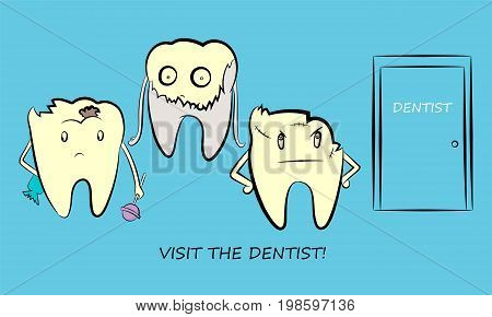 Problematic, sick and unhealthy teeth. Funny cartoon characters. Vector illustration.