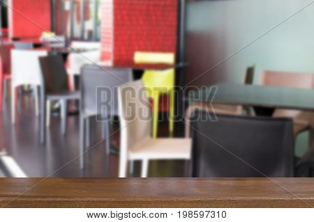 Colorful Plastic Table And Chair In Cafeteria, Restaurant, Cafe Coffee Shop With Wood Table For Mont