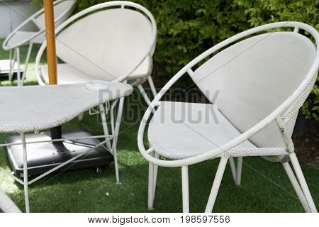 White Table And Chair In Cafeteria, Restaurant, Cafe Coffee Shop