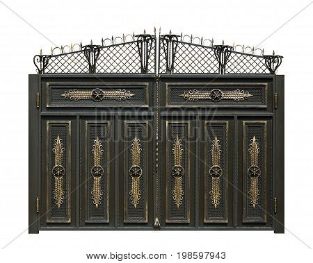 Modern wrought gate in old stile. Isolated over white background.