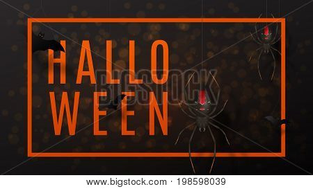 Dark halloween greeting web banner. Vector illustration with paper bats. Festive background with realistic spiders on spider web.