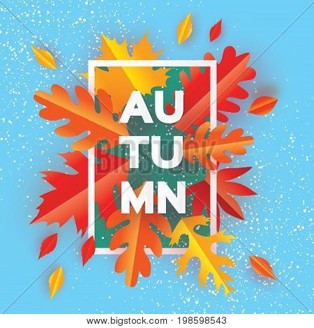 Beautiful Autumn Paper Cut Leaves. Hello Autumn. September flyer template. Rectangle frame. Space for text. Origami Foliage. Maple, oak. Fall poster. Blue background. Vector illustration