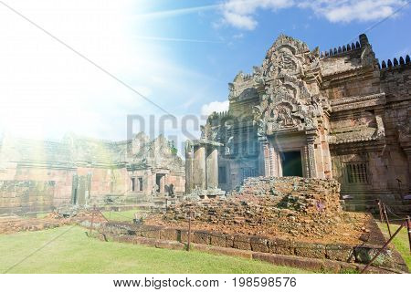 Prasat Hin Phanom Rung It is a beautiful place with lens flare in Thailand. Buri Ram Province