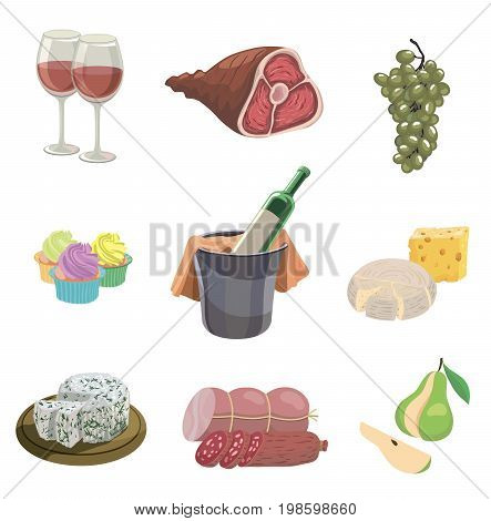 foodstuffs. set of colored vector icons on a white background