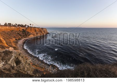 California coast view of Point Vincente at Rancho Palos Verdes in Los Angeles County.