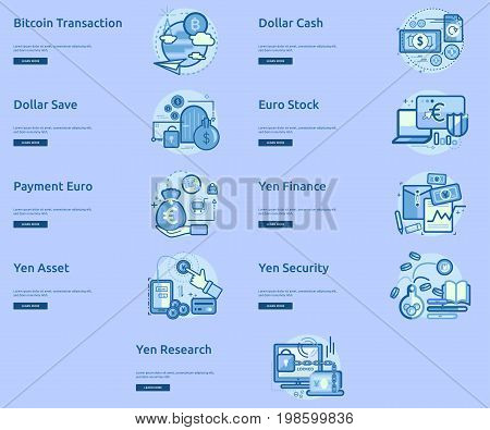Currencies Conceptual Banner Design | Set of great banner flat design illustration concepts for currency, business, finance and much more.