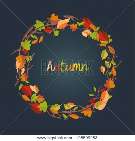 Autumnal round frame wreath of autumn leaves. Background with hand drawn autumn leaves.