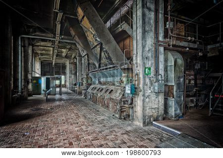 PEENEMUENDE GERMANY - JULY 18 2017: Abandoned rocket production workshops. Territory of the Army Research Center. During the World War II the area was highly involved in the development and production of the V-2 rocket.