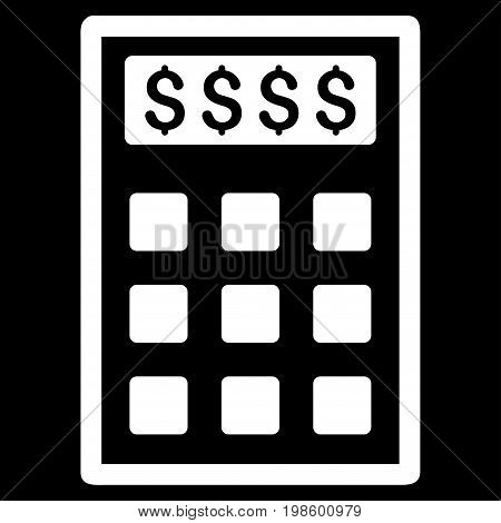Book-Keeping Calculator vector icon. Flat white symbol. Pictogram is isolated on a black background. Designed for web and software interfaces.