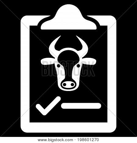 Cattle Contract vector icon. Flat white symbol. Pictogram is isolated on a black background. Designed for web and software interfaces.