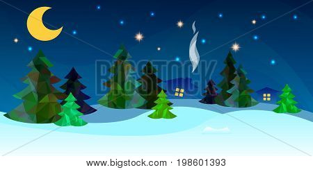 Beautiful countryside winter background with a Fir Tree and Snow. Vector illustration.
