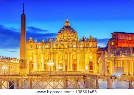St. Peter's Square And St. Peter's Basilica, Vatican City In The Evening Time.italy.