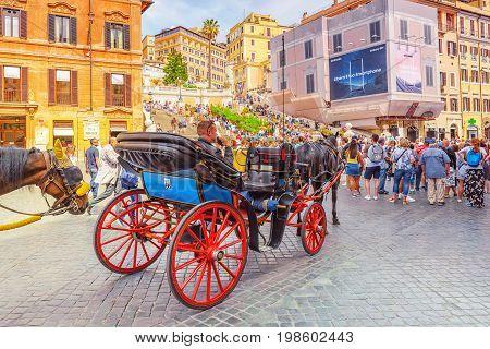 Rome, Italy - May 10, 2017 :  Spanish Steps Square(piazza Della Trinita Dei Monti) Near Spanish Step