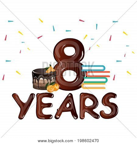 8th Anniversary celebration, with gift cake. Vector illustration