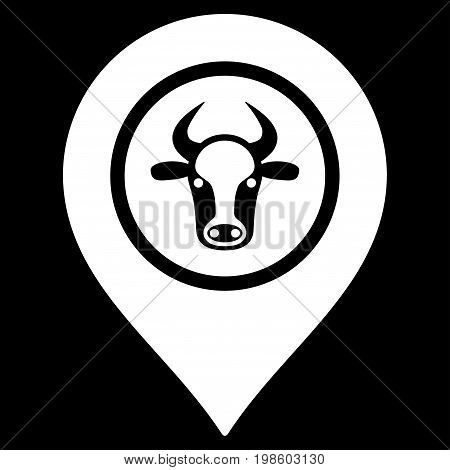 Cow Marker vector icon. Flat white symbol. Pictogram is isolated on a black background. Designed for web and software interfaces.