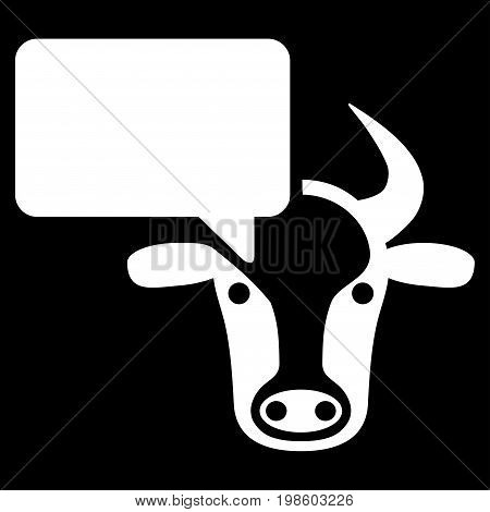 Cow Opinion vector icon. Flat white symbol. Pictogram is isolated on a black background. Designed for web and software interfaces.