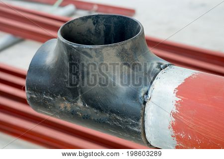 Pipe Welded On The Pipeline Construction.