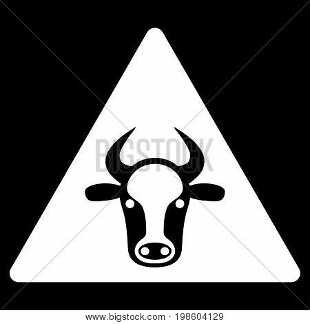 Cow Warning vector icon. Flat white symbol. Pictogram is isolated on a black background. Designed for web and software interfaces.