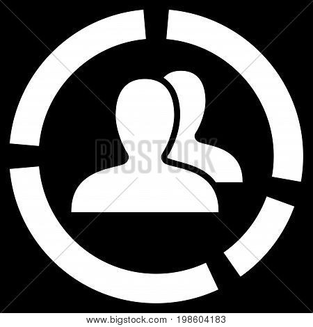 Demography Diagram vector icon. Flat white symbol. Pictogram is isolated on a black background. Designed for web and software interfaces.