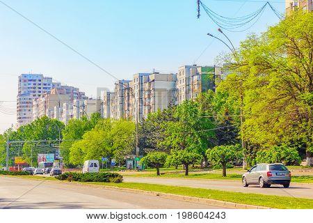 Chisinau, Moldova - May 07,2017 : City View Of One Of The Main Avenues Of Chisinau Is Dacia Avenue I