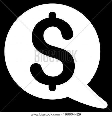 Financial Message Balloon vector icon. Flat white symbol. Pictogram is isolated on a black background. Designed for web and software interfaces.