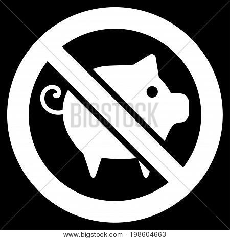 Forbidden Pig vector icon. Flat white symbol. Pictogram is isolated on a black background. Designed for web and software interfaces.