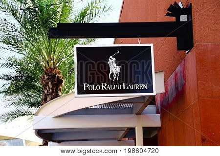 LAS VEGAS, NEVADA - October 11, 2016: Polo Ralph Lauren Logo On Store Front Sign in the famous Premium outlet North at Las Vegas,NV.