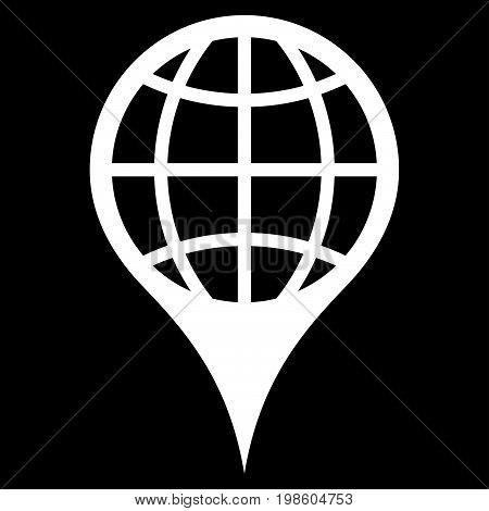 Global Location vector icon. Flat white symbol. Pictogram is isolated on a black background. Designed for web and software interfaces.