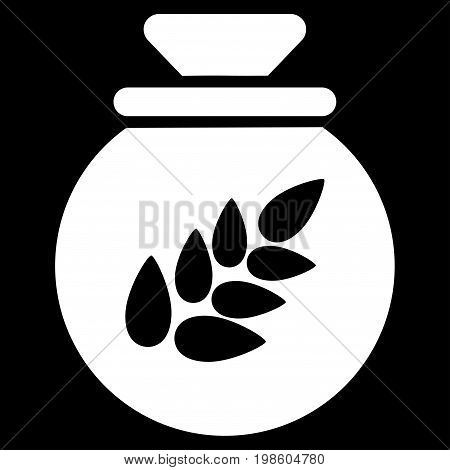 Grain Harvest Sack vector icon. Flat white symbol. Pictogram is isolated on a black background. Designed for web and software interfaces.