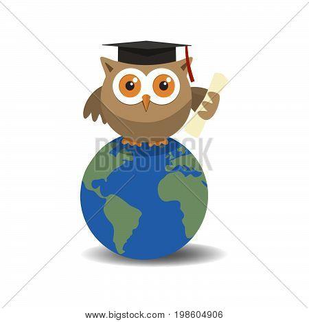 Owl graduate on globe with shade on white background